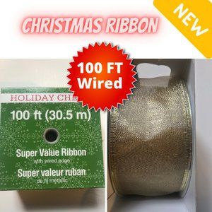 "Holiday Ribbon - Gold 100ft, Wired edges 2.5"" New"
